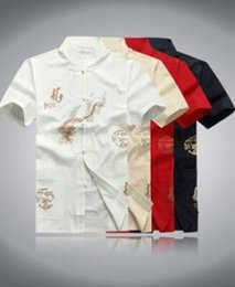 Wholesale Traditional Men Chinese Clothes - Wholesale-Summer promotion Tang china dragon kung fu shirt chinese traditional clothing for men