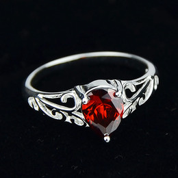 Wholesale Imitation Platinum Silver Wedding Rings - Silver Color 18K Platinum Plated Alloy Charm Red Imitation Crystal Love Bride Wedding Rings For Women