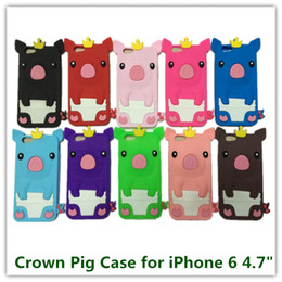 "Wholesale Cute Iphone Skin Protector - 1PCS for iPhone 6 4.7"" Cute Cartoon Crown Pig Pattern 3D Animals Patter Back Skin Protector Cover Case for iPhone 6 Free"