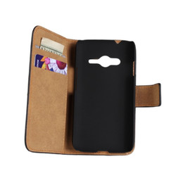 Wholesale Galaxy Ace Leather - Wholesale 20pcs Luxury Genuine Leather Wallet Book Case For Samsung Galaxy Ace 4 G313 Mobile Phone Case Free Shipping
