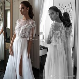 Wholesale Tulle Wedding Dress Slips - jewel neck cap sleeves fringe beaded bodice sexy slip wedding dresses 2018 elihav sasson sleeveless chapel train wedding gowns