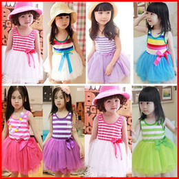 Wholesale Girls Stripped Tutu Dress - 5Pcs Free Ship 2016 Girls Princess Dresses red striped With Bow Dress Kids Flower Dress Baby Strip Bow Party Dresses Princess Tutu dresses