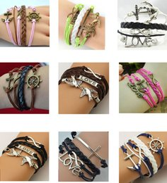 2019 bracelet style style Brand New Fashion Charm en cuir Infinity Bracelets Bracelet Bijoux Pour hommes Mixte Styles et Couleurs Vintage Bijoux Tressés Livraison Gratuite bracelet style style pas cher