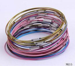 Wholesale Memory Steel Wire - Mixed Color Vintage 20cm Memory Wire Stainless Steel Loop Hoop Screw Clasps Bangles Bracelet For Women Jewelry DIY Hot Z975