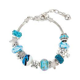 Wholesale Ocean Coral - Shell Starfish Coral Ocean Bracelets - Women's Blue Crystal Glass Beach Bracelet For Women Girls DIY Souvenir Jewelry