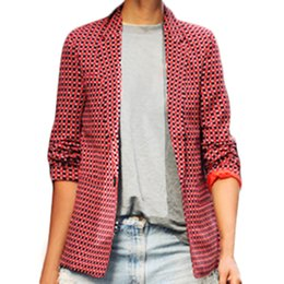 Wholesale Casual Cotton Blazer Womens - S5Q Womens Retro Sexy Slim Casual Long-sleeved Red Plaid Jacket Lapel Small Coat AAAFNH