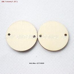 "Wholesale Wood Discs - Wholesale-(120pcs lot) 2 Holes Circle Rustic Wooden Disks Natural Wood Disc Tags Tupplies Laser Cut 1.5""-CT1223"