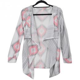 Wholesale Wholesale Long Sleeve Shrugs - Wholesale- Fashion Women Printed Irregular Hem Cardigan Sweater Autumn Winter Tops Shrug Ponchoh Cape Loose Long Cardigan