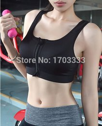 Wholesale Ordering Bra Wholesale - Women Push Up Sports Bra Gym Fitness Cotton Yoga zipper Padded Workout Of 6colors Tops Tank Racerback Free Shipping