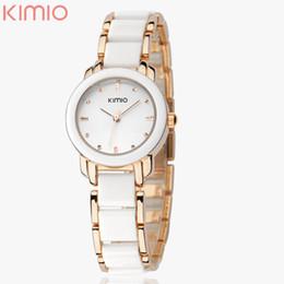 Wholesale Ladies Watch Eyki - Brand Eyki Kimio 2016 Ladies Imitation Ceramic Watch Luxury Gold Bracelet Watches with Fine Alloy Strap Women Dress Watch