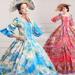 Wholesale Costumes Carnival Medieval - 2016 Elegant Vintage Print Dance Dress 18th Century Marie Antoinette Dress Ball Gown Reenactment Theatre Clothing Medieval Renaissan Costume