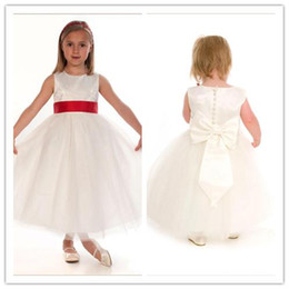 Wholesale Yellow Colour Flower Girl Dresses - Beautiful Flower Girls Dresses Ivory Tulle Princess Style Kids Gowns Coloured Sash Wedding Childs Dress Tea-Length Jewel Gown
