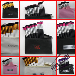Wholesale Red Highlighter - HOTTEST 10 Colors 3 Brands Kylie Jenner 10pcs Highlighter Makeup Brushes Palette Eyeshadow Blush Brush With Bags free shipping