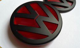 Wholesale Grill Matt - Devil style matt black red front grill badge emblem for VW volkswagen POLO MK4 9N 9N3 2003-2009 GTI FSI TDI SRI CROSSPOLO 1.8T