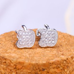 Wholesale Real Diamond Earrings For Women - Brand New Apple Stud Earrings Imitation Rhodium Plated Real Not Fade For Women Wedding Hot CZ Simulated Diamonds Fine Jewelry Free Shipping