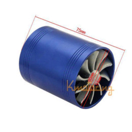Wholesale Intake Turbines - Double Turbocharger Engine Air Turbine Turbo charger Gas Intake Super Blue Fan Kit Fuel Enhancer Saver free shipping wholesales M45067