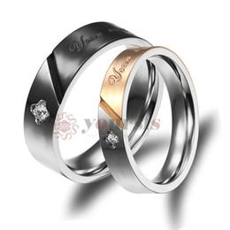 Koreanischen gold paar ring online-Kostenloser Versand Edelstahl Paar Ringe Korean Schmuck, CZ Vier Blätter Clover sein und ihr Versprechen Ring Paar