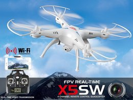Wholesale Remote Control W - Original SYMA X5SW FPV RC Camera Drone WIFI Quadcopter w  2MP Camera Headless 2.4G 6-Axis Real Time HD RC Helicopter w  Battery Black White