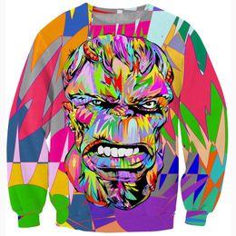 Pop art colorido on-line-W1223 Mulheres / homens moda pop art design crewneck hoodies tops coloridos hulk 3d outerwear outerwear hip hop moletons com capuz moletons