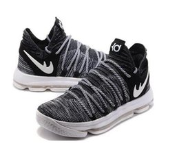 Wholesale Kids Kevin Durant Shoes - Sales KD 10 Oreo Black White men women kids shoes Store Kevin Durant Basketball shoes free shipping 897815-001