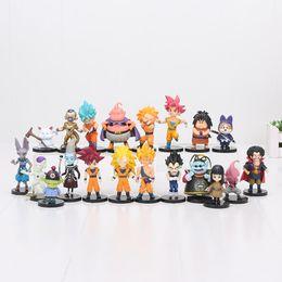 Wholesale Dragon Ball Bag - 20pcs set Dragon Ball Z Super Saiyan Son Goku Vegeta Buu Freeza Karin sama Beerus PVC Action Figures Model Toy In Bag