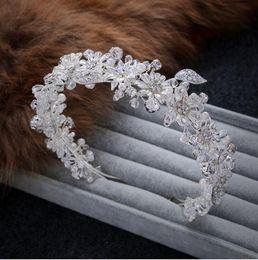 Wholesale pearls headband - 2018 Hot Sale Luxurious Bridal Headpieces Hair Clasp Imitation Rhodium Plated Beautiful Headband Sliver Wedding Supplies