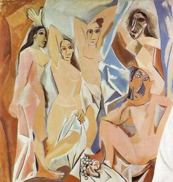 Wholesale Pablo Picasso Oil - Les Demoiselles d'Avignon Pablo Picasso Painting Art Posters Print Photopaper 16 24 36 47 inches