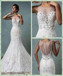 Wholesale Elegant Beads - 2016 Elegant Lace Mermaid Wedding Dresses Amelia Sposa Sheer Neck Jewel Beads Appliques Bridal Gowns Sheer Back Wedding Gowns