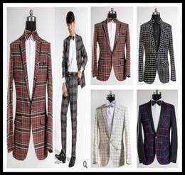 Wholesale Leisure Suit Pictures - Wholesale-Studio Theme Pictures Of men's Fashion Leisure High-grade Checked Suit Men Dress Wedding Groom Suit Blazer Suits & Blazer