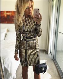 Cadena corta de oro diseña mujeres online-Vestidos cortos de vestir europea nuevo diseño de moda de las mujeres del partido del club del shinny paillette del oro de la cadena de lentejuelas mosaico del bodycon del lápiz