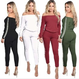 Wholesale Womens Red Sweats - 2017 Womens Casual Fashion Autumn Off-Shoulder Long Sleeved Two-piece Jogger Set Ladies Fall Tracksuit Sweat Suits