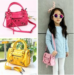 Wholesale Baby Girls Leather Handbags - Children Handbags women Small Shoulder Bags Women Mini pu Leather Bag Kid Girl's Motorcycle bag Kids Purse bags Baby Tote KW-BA001