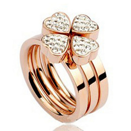 Wholesale Titanium Couple Ring Black - Titanium steel jewelry Three type joining together Four flower Set auger titanium steel rose gold ring size 6,7,8,9 Couples ring