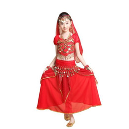 Wholesale Indian Dancing Skirts - 2015 Promotion Belly Dance Halloween Costume Set 5PCS Skirt&Top&Belt&Veil&Bracelet Children Bollywood Indian Maxi Dress Vestidos