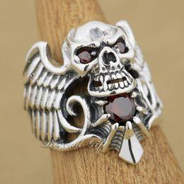 Plata esterlina del Devil Wing Skull CZ Red Mens Biker Ring 9M013 US Tamaño 8 ~ 14 Envío gratuito desde fabricantes