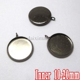 Wholesale Cameo Backing - 100pcs Gunmetal Black Plated Pendant Blanks with inner 10-20mm Bezel Setting Tray for Cameo Cabochons