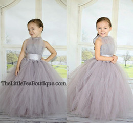 Wholesale Cheap Dress For Little Girls - Free Shipping 2015 Cheap Ball Gown Flower Girl Dresses for Wedding Gray Tulle Puffy Halter Sash Floor Length Little Girl Pageant Dresses