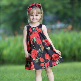 Bebé rosas rojas vestidos online-Pettigirl Summer Baby Girls Vestidos con diadema Grandes rosas rojas y arco Vestido de niños para ropa de bebé GD80810-66F