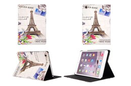 Wholesale Tower Case Stand - Retro Pairs Eiffel Tower London Elizabeth Big Ben Flip Stand PU Leather Case Smart Cover For iPad 2 3 4 5 6 Air Air2 Mini Auto Sleep Wake