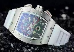 Wholesale watches men massa - Luxury Tonneau Stainless Mens Automatic Movement Mechanical Watches RM11 Felipe Massa Flyback Rubber Buckle Men Transparent Back Wristwatch