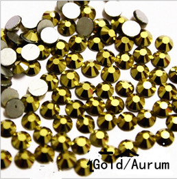 Wholesale Glasses Clothes - Top Quality 1440pc SS3-SS20 Crystal Gold   Aurum Glass Glue Fixed Non Hotfix Flatback Rhinestone Nail Art Decoration Clothing DIY