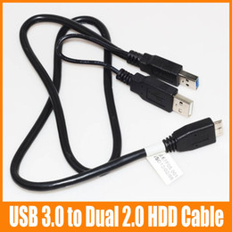 Wholesale Dual Usb Y - Micro USB 3.0 Male to Dual Micro USB HDD Cable Power Extension Y Cable For Hard Drive HDD PC Laptop 100pcs