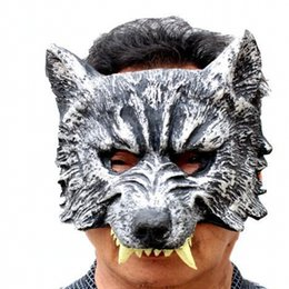Wholesale Masquerade Wolf Masks - Free Shipping Terro Wolf Dress Up Latex Rubber Masquerade Mask For Adults COSPLAY Costume Halloween Party Supplies