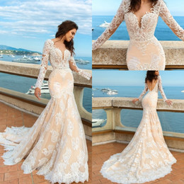 Wholesale Long Sleeve Black Fitted Dress Train - 2018 Elegant Champagne Mermaid Lace Wedding Dresses Long Sleeves Boho Backless Fitted Sweetheart Castle Bridal Gowns