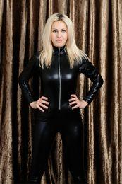 Wholesale Black Vinyl Catsuit - Men Women Black Catsuits Front Zip Vinyl Leather Jumpsuits Original Suits Shiny Women Catsuits