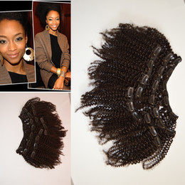 Wholesale Black Women Afro - 2017 New Coming Mongolian Hair 4a 4b 4c Afro Kinky Curly Clip In Hair Extensions For Black Woman G-EASY