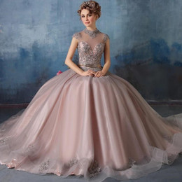 Wholesale Ball Prom Dress - 2018 New High Neck Quinceanera Dresses Lace Appliques with Crystal Beaded Ball Gown Sweet 16 Prom Gowns Vestidos De Quinceanera