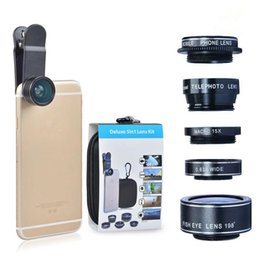 Wholesale Galaxy Lens Kit - HD Camera Lens Kit 5 in 1 for iPhone 6 6s 6 6s Plus SE Samsung Galaxy S7 S7 Edge S6 S6 Edge and Other Android Smart Phone