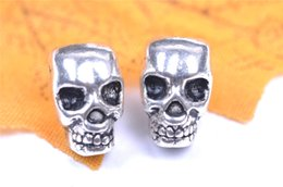 Wholesale Diy Silver Pandora Charm Earrings - 100pieces 12mm 3D Skull Pandora Beads Spacer Charms 7068 Pendant Connector Plated Silver DIY Jewelry Necklace infinity Bracelets Earring
