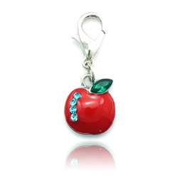 Wholesale Food Apples - Newly Fashion Floating Charm Alloy Lobster Clasp Rhinestone Apple Charms DIY Jewelry